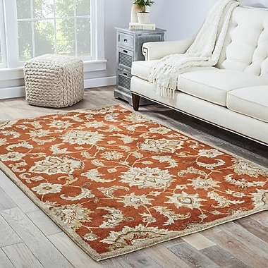 Charlton Home Thornhill Red & Gray Area Rug; Rectangle 5' x 8'