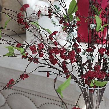 Charlton Home Artificial Osmanthus Branch in Vase; Red