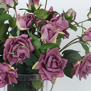 Charlton Home Real Touch 3 Rose Flower in Vase; Purple