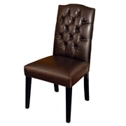 Darby Home Co Radley Parsons Chair in Leather - Brown (Set of 2)