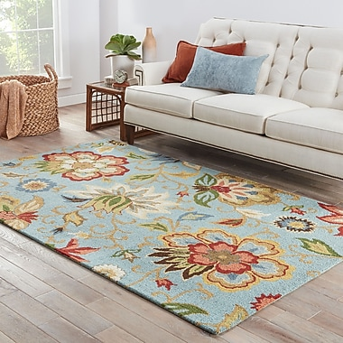 Darby Home Co Gradall Floral Blue Area Rug; 5' x 8'