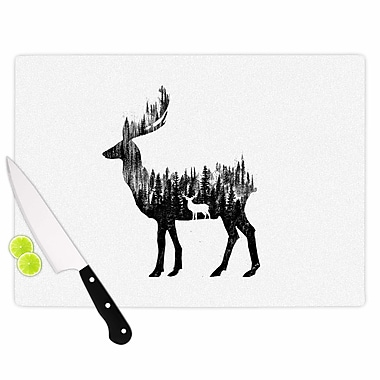 East Urban Home Glass 'the Deer Digital' Cutting Board; 0.25'' H x 15.75'' W x 11.5'' D
