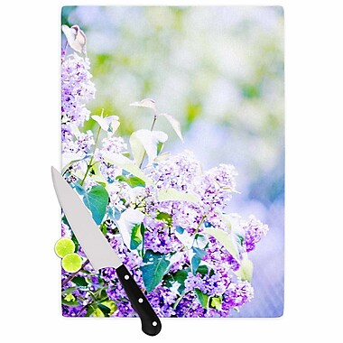 East Urban Home Sylvia Coomes Glass 'Hazy Flowers' Cutting Board; 0.25'' H x 15.75'' W x 11.5'' D