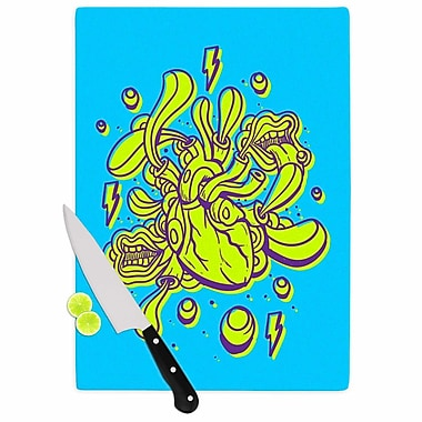 East Urban Home Roberlan Glass 'Doodle Surreal Heart' Cutting Board; 0.25'' H x 15.75'' W x 11.5'' D