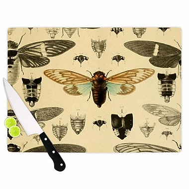East Urban Home Suzanne Carter Glass 'Vintage Cicada Bugs Pattern' Cutting Board