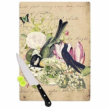 East Urban Home Suzanne Carter Glass 'Vintage Tea Bird Illustration' Cutting Board