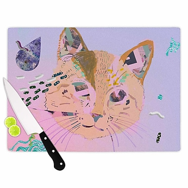 East Urban Home Vasare Nar Glass 'Psychedelic Cat' Cutting Board; 0.25'' H x 11.5'' W x 8.25'' D