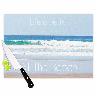 East Urban Home Sylvia Coomes Glass 'Life Is Better at the Beach' Cutting Board