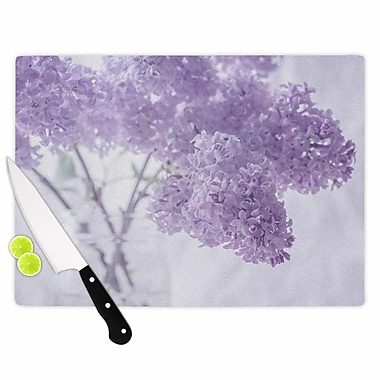 East Urban Home Suzanne Harford Glass 'Lilacs Floral' Cutting Board; 0.25'' H x 15.75'' W x 11.5'' D