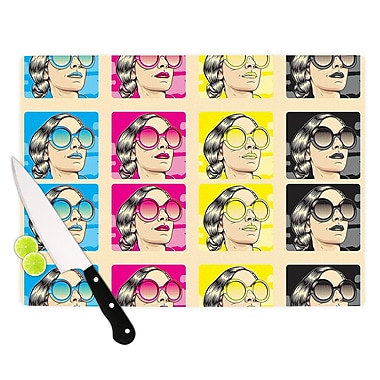 East Urban Home Roberlan Glass 'CMYK Fashion' Cutting Board; 0.25'' H x 15.75'' W x 11.5'' D