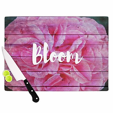 East Urban Home Suzanne Carter Glass 'Bloom Typography Floral' Cutting Board