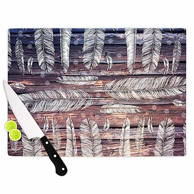 East Urban Home Suzanne Carter Glass 'Snowflakes and Feathers' Cutting Board