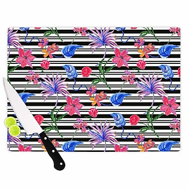 East Urban Home DLKG Design Glass 'Flower Party' Cutting Board; 0.25'' H x 15.75'' W x 11.5'' D