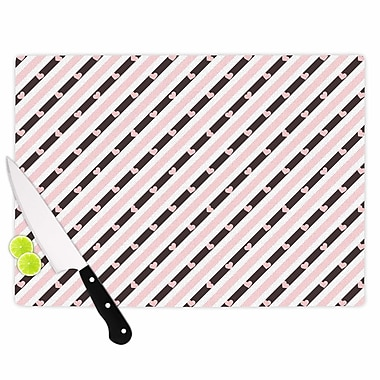 East Urban Home Vasare Nar Glass 'Pastel Stripe Heart Love' Cutting Board
