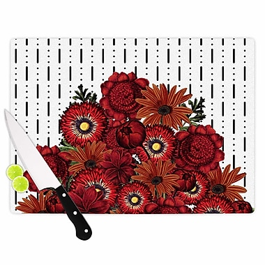 East Urban Home Tobe Fonseca Glass 'Spring Pattern Dotted Lines Red Mixed Media' Cutting Board