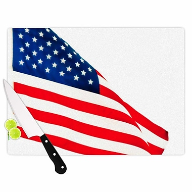 East Urban Home Sylvia Coomes Glass 'American Flag Holiday' Cutting Board