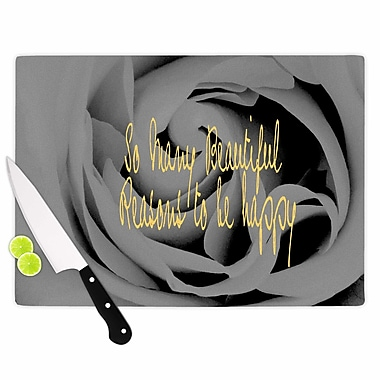 East Urban Home Suzanne Carter Glass 'Happy Floral' Cutting Board; 0.25'' H x 15.75'' W x 11.5'' D