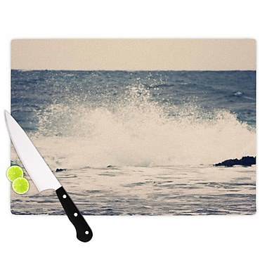 East Urban Home Sylvia Coomes Glass 'Crashing Waves 2 Costal' Cutting Board