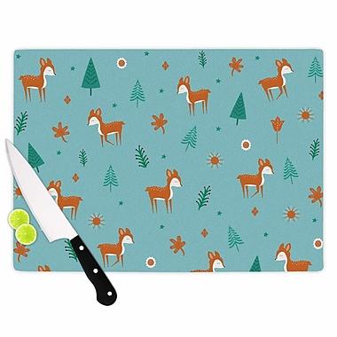 East Urban Home Cristina Bianco Design Glass 'Cute Deer Pattern Kids' Cutting Board