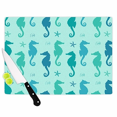 East Urban Home Glass 'Seahorse Pattern Illustration' Cutting Board; 0.25'' H x 11.5'' W x 8.25'' D