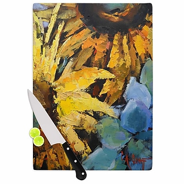 East Urban Home Carol Schiff Glass 'Sunflowers and Hydrangea Floral' Cutting Board