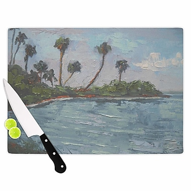 East Urban Home Carol Schiff Glass 'Lagoon' Cutting Board; 0.25'' H x 11.5'' W x 8.25'' D
