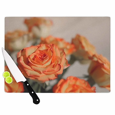 East Urban Home Angie Turner Glass 'Roses Floral' Cutting Board; 0.25'' H x 15.75'' W x 11.5'' D