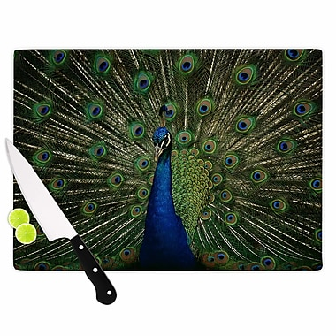 East Urban Home Angie Turner Glass 'Proud Peacock Animals' Cutting Board