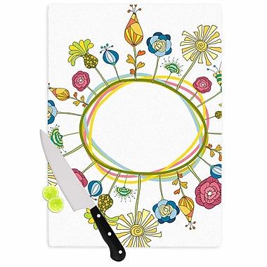East Urban Home Alisa Drukman Glass 'Flo Floral' Cutting Board; 0.25'' H x 11.5'' W x 8.25'' D