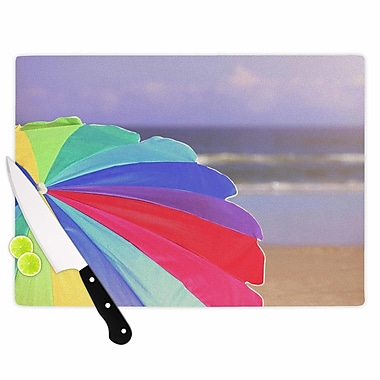 East Urban Home Angie Turner Glass 'Beach Umbrella Photography' Cutting Board