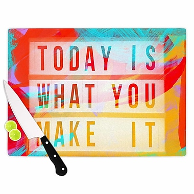 East Urban Home AlyZen Moonshadow Glass 'Today Is What You Make It Typography' Cutting Board