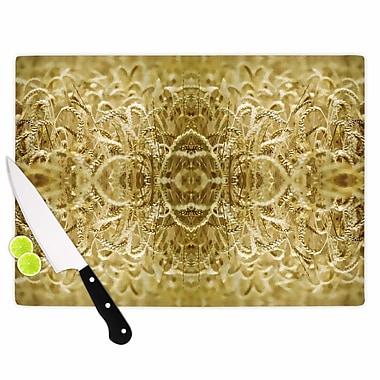 East Urban Home Pia Schneider Glass 'Cornfield Pattern Ocker Pattern' Cutting Board