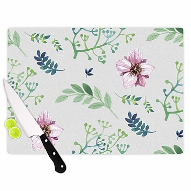 East Urban Home Louise Glass 'Summer Flower Pattern' Cutting Board; 0.25'' H x 15.75'' W x 11.5'' D