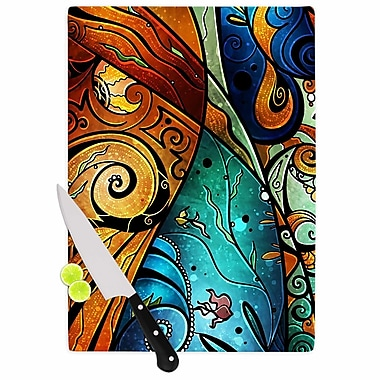 East Urban Home Mandie Manzano Glass 'Sea Dance' Cutting Board; 0.25'' H x 11.5'' W x 8.25'' D
