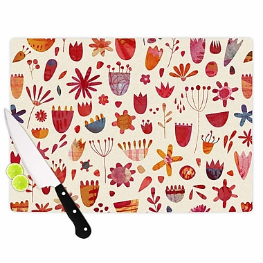 East Urban Home Nic Squirrell Glass 'Spring Flowers' Cutting Board; 0.25'' H x 11.5'' W x 8.25'' D