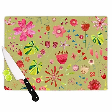 East Urban Home Nic Squirrell Glass 'Wild Meadow Floral Digital Illustration' Cutting Board