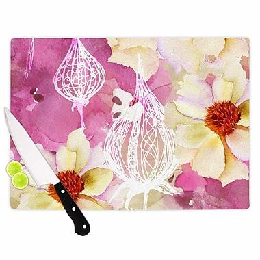 East Urban Home Liz Perez Glass 'Sweet Florist' Cutting Board; 0.25'' H x 11.5'' W x 8.25'' D