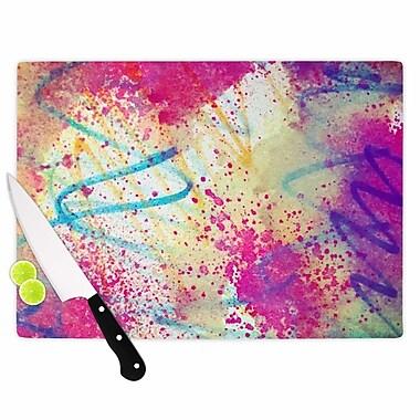 East Urban Home Liz Perez Glass 'Rainbow' Cutting Board; 0.25'' H x 15.75'' W x 11.5'' D