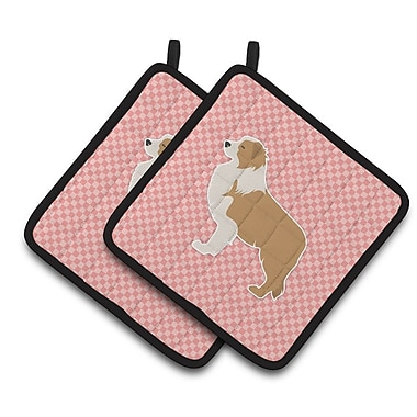East Urban Home Border Collie Checkerboard Potholder (Set of 2); Pink