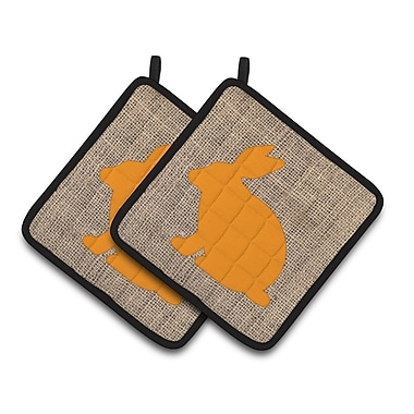 East Urban Home Rabbit Potholder (Set of 2); Orange