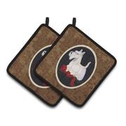 East Urban Home Scottish Terrier w/ Red Ribbon Potholder (Set of 2)