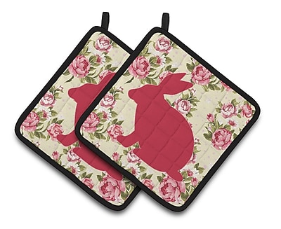 East Urban Home Rabbit Floral Potholder (Set of 2); Yellow