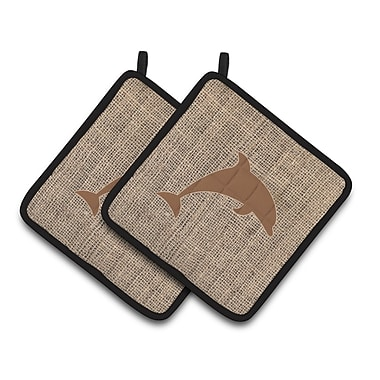 East Urban Home Dolphin Brown Potholder (Set of 2); Brown