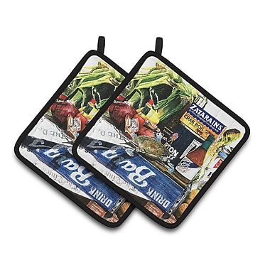 East Urban Home Crab in the Middle Potholder (Set of 2)