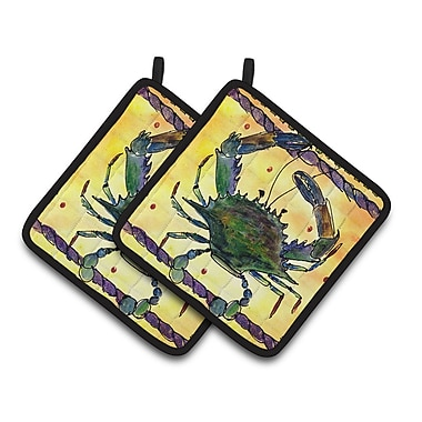 East Urban Home Green Crab Yellow Potholder (Set of 2)