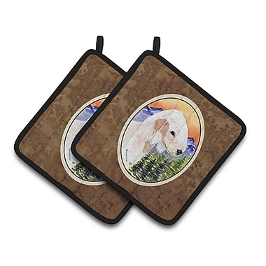 East Urban Home Bedlington Terrier w/ Mountain and Trees Potholder (Set of 2)