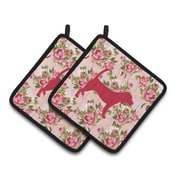 East Urban Home Beagle Shabby Elegance Roses Square Potholder (Set of 2)