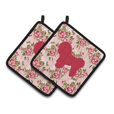 East Urban Home Bichon Frise Shabby Elegance Roses Square Potholder (Set of 2)