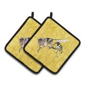 East Urban Home Bee Yellow Potholder (Set of 2)