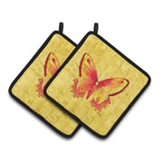 East Urban Home Red Butterfly Potholder (Set of 2)